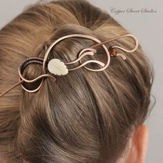 Copper Hair Slide with Mother of Pearl Leaf by CopperStreetStudios