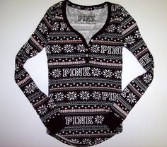 VICTORIAS SECRET PINK XS THERMAL SLEEP PAJAMA PJ Shirt TOP FAIR ISLE Victoria's #VictoriasSecret #PajamaSets