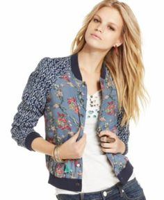 Free People Printed Bomber Jacket - Jackets & Blazers - Women - Macy's Cathy says Katy would love it! Cool Bomber Jackets, Blazer Jackets For Women, Patterned Bomber Jacket, Kurti Styles, Free People Jacket, Embroidered Clothes, Sporty Style, Couture, V Neck Tops