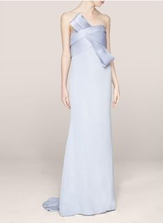 Notte by Marchesa - Pleated strapless silk gown | Blue and Green Evening Dresses