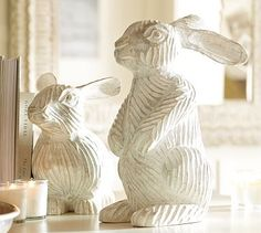 just like coffee: { easter decor at pottery barn } Happy Easter, Easter Bunny, Pottery Barn Easter, Here Comes Peter Cottontail, Home Decor Sale, White Rabbits, Bunny Tail, Vintage Soul, Easter Crafts