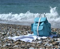 Light blue and white leather rucksack by Grafea www.grafea.co.uk