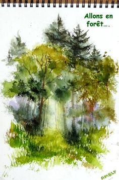 aquarelle,croquis,arbres,forêt,sous-bois,abby,ardennes,famenne,paysage,campagne,plein air,sketch