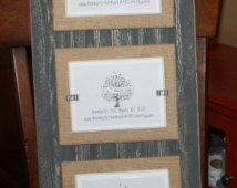 Triple 5x7 Picture Frame - Distressed Wood - Double Mats - Holds 3 - 5x7 Photos - Gray, Burlap & White