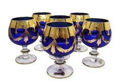 Set of 6 Cobalt Blue Crystal Cognac Snifters, Gold Plated, Vintage Italy Gold Wine Glasses, Vintage Italy, Mason Jar Wine Glass, Blue Crystals, Cobalt Blue, Whisky, Plating, Tea Sets, Dinner Sets