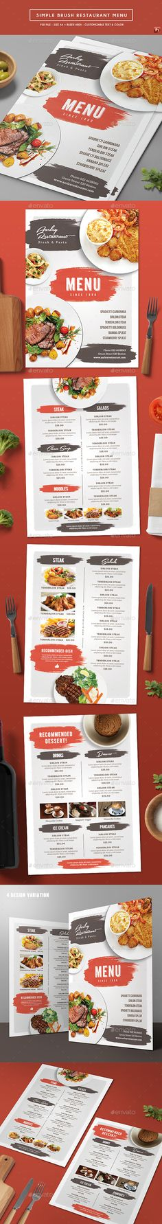 Simple Brush Restaurant Menu Template PSD