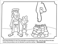 Kids coloring page from What's in the Bible? featuring Abraham and Isaac from Genesis 22. Volume 1: In the Beginning.