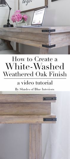 Creating a White-Washed Weathered Oak Finish- Video Tutorial - Shades of Blue Interiors How to achieve a white-washed weathered oak finish on plain smooth pine by creating a raised grain, staining and sealing, and then using white wax. Staining Wood, Redo Furniture, Oak Furniture, Painted Furniture, Refinishing Furniture, White Washed Oak, Home Diy, Furniture Makeover, Weathered Oak Stain