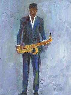 Contemporary artwork of a man in a blue suit holding a saxophone. Sax in a Blue Suit Wall Art by Samuel Dixon from Great BIG Canvas. Painting Prints, Wall Art Prints, Canvas Prints, Paintings, Contemporary Artwork, Figurative Art, Canvas Wall Art, Big Canvas, Find Art