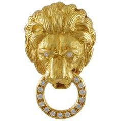 Van Cleef & Arpels Diamond Gold Lion Head Brooch