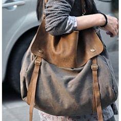 """✓ Bawełniano-skórzana  torba na ramię """"Mail'. perfekcyjne połączenie skóry z grubym płótnem bawełnianym. Prosty, lużny styl na każdą okazję. Torba zamykana na klips oraz dodatkowo - klapa - na dwa dodatkowe zatrzaski magnetyczne. Dwie wewnętrzne kies"""