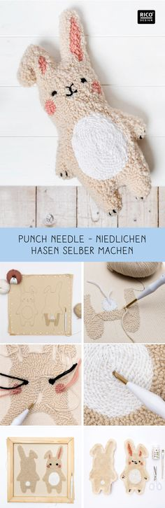 Nice gift for children: cuddly toy rabbit in punch needle style Every child is happy about that! The cute bunny is easy to design with needle punching. Punch Needle Set, Punch Needle Patterns, Kids Punch, Flower Embroidery Designs, Fabric Toys, Bunny Toys, Sewing Toys, Punch Art, Rug Hooking