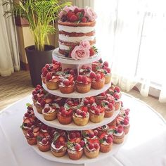 Summer berry inspired naked wedding cake and mini cake tower – Wedding Cakes With Cupcakes Mini Cakes, Cupcake Cakes, Cupcake Tier, Naked Wedding Cake, Fruit Wedding Cake, Cheesecake Wedding Cake, Cupcake Wedding, Nake Cake, Fresh Fruit Cake