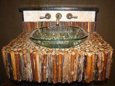 20 Upcycled and One-of-a-Kind Bathroom Vanities : Home Improvement : DIY Network Corner Bathroom Vanity, Bathroom Vanity Makeover, Vanity Sink, Bathroom Vanities, Bathroom Ideas, Vanity Drawers, Bathroom Shelves, Bath Ideas, Rustic Vanity