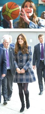 katemiddletonfashion:  The Duchess of Cambridge's pregnancy fashion - Engagements in Glasgow  Catherine spent the day in Scotland, where she is known as the Countess of Strathearn, and for the occasion, she wore a blue and grey tartan Moloh coat. She had her sapphire earrings, black Aquatalia boots and black clutch as accessories.