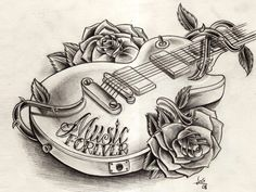 Free Designs Music Guitar Tattoo Wallpaper 1024 X 768 Px Girly Tattoos, Music Tattoos, Trendy Tattoos, Rose Tattoos, New Tattoos, Tattoos For Guys, Tatoos, Music Tattoo Sleeves, Hipster Tattoo