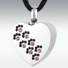 Alexandrite Paw Traces Stainless Steel Cremation Jewelry