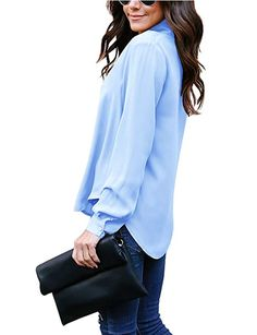 06d6a1bf7af27 Flying Rabbit Women s Cuffed Long Sleeve Casual V Neck Chiffon Blouses Tops  Tie at Amazon Women s Clothing store   womensfashion  casual  casualstyle  ...