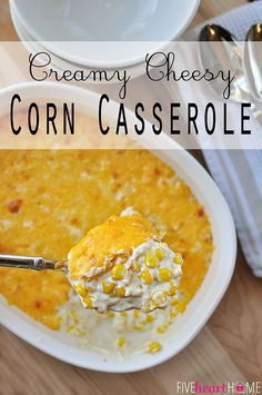 Creamy Cheesy Corn Casserole ~ decadent with cream cheese and cheddar, this corn is perfect as a holiday side dish and can even be made in the crock pot! | {Five Heart Home}