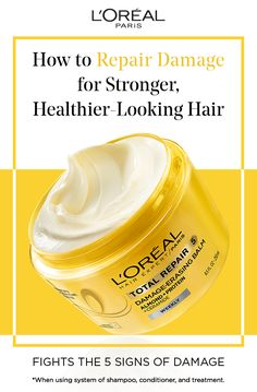 There are five major signs of hair damage.. Learn the signs and how to fight them with L'Oréal Total Repair 5 Damage-Erasing Balm with Almond and Protein. Find out how to repair damage for stronger, healthier-looking hair.