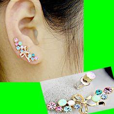 Bow And Rainbow Long Clip Ear Pin Asymmetric Set (2 Pieces) | Sniydan - Jewelry on ArtFire