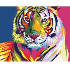 tiger coffee wild animals  art print 8x10 impressionism modern gift new