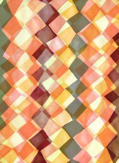 Watercolour and digital diamond pattern - Sarah Bagshaw