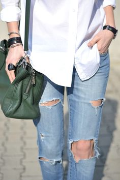 Distressed jeans, white shirt, miu miu bag, boho, details
