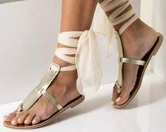 c942affd32 Black leather sandals Greek gladiator style Women t-strap