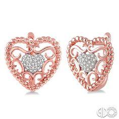 1dc1f097a 1/10 Ctw Round Cut Diamond Heart Earrings in 10K Pink Gold Diamond Heart,