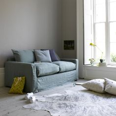 Pavilion sofa bed with jade vintage linen loose cover #sofabed