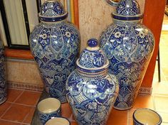 Mexican Talavera Pottery- I have many colored pieces but these ble and whote ones are rare and just superb