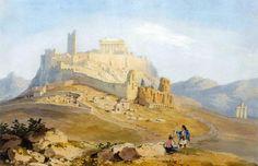 """""""Άποψη  της Ακρόπολης"""" του William Page, δεύτερο τέταρτο 19ου αιώνα.  Ιδιωτική συλλογή.  """"View of Acropolis"""" by William Page, second quarter of 19th c.. Private collection."""