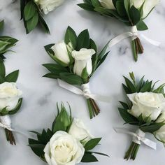 White spray roses in a boutonniere. could include one or two blooms. these also include a bit of greenery, but wouldn't have to. could keep them simple with just the bloom, or add a stem of something to trim such as sweet pea, astilbe, etc. Prom Flowers, Bridal Flowers, Diy Flowers, Floral Wedding, Diy Wedding, Wedding Simple, Dress Wedding, Wedding Ideas, White Spray Roses