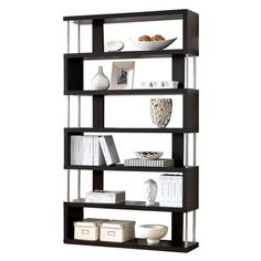 Javier Modern Zig Zag Display Shelving (High) Dimensions: 75.2 inches high x 43.3 inches wide x 11.4 inches deep $210