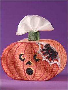 Plastic Canvas - Tissue Topper Patterns - Boutique-Style Patterns - Jack-o'-Lantern Tissue Topper