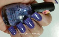 """My purple is by Mundial Impala polish, """"Azul Aviador"""" #718. Such a beautiful and nice formula to work with.  After enjoying the purple, I did add a glitter to it """"""""Petal Be The Day"""" from the new 2015 spring collection by Sinful Colors.  Love this look!"""