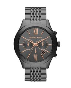Michael Kors Oversize Gray Stainless Steel Brookton Three-Hand Watch Mk  Mens Watches 5a9c44a225