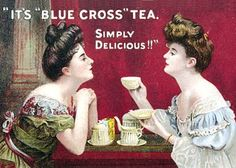 Victorian advertisement features two ladies seated at the tea table.