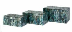 Aramis Mosaic Boxes (Set of - IMAX glass tiles in undulating shades of blue adorn the surface of the Aramis Mosaic Boxes. This attractive set of three boxes can be displayed together or scattered throughout your Features: Home Decor Accessories, Decorative Accessories, Decorative Boxes, Ceramic Canister Set, Glass Birds, Inspiration Wall, Unique Home Decor, Storage Baskets, Box Storage
