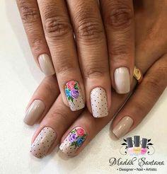 Acrylic Nail Designs, Nail Art Designs, Acrylic Nails, Beige Nails, Flower Nail Art, Super Nails, Easy Nail Art, Manicure And Pedicure, Spring Nails