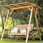 Veranda Teak Swinging Bench With Canopy - Westminster Teak Outdoor Furniture
