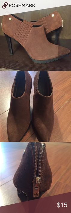 """Calvin Klein brown suede booties Brand new, no box, worn one time, size 8, 3"""" heel; shadow in picture - no two-tone toe Calvin Klein Shoes Ankle Boots & Booties"""