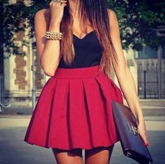 Summer Outfit - Black Top - Red Skirt