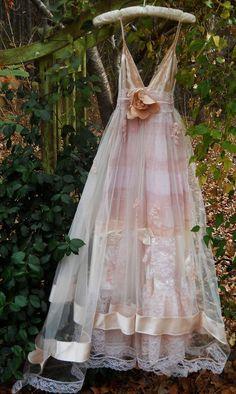 swansong-willows: (via Blush wedding dress vintage tulle satin beading ethereal bohemian rom…)