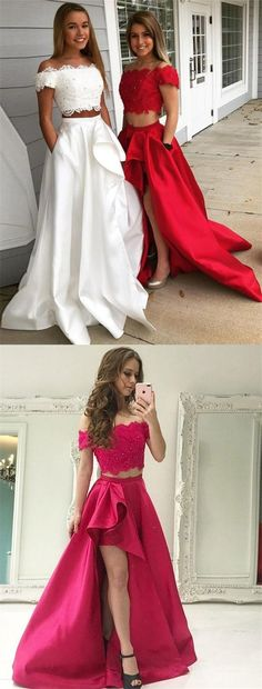 Two Piece Off-the-Shoulder Red Satin Prom Dresses, simple lace short sleeve high low prom dress long,graduation party dresses for teens