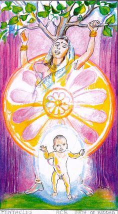 Sacred India Tarot Birth of Buddha, Ace disks