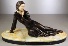 EUR 223.00 - 1920/1930 menneville statue sculpture art deco chryselephantine elegante woman | eBay