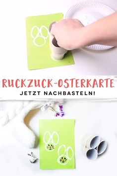 Osterkarten mit Kindern basteln This Easter card is tinkered in no time – even with small hands. Cards Ideas, Diy And Crafts, Arts And Crafts, Easter Crafts For Kids, Garden Crafts, Painting For Kids, Easter Baskets, Craft Gifts, Montessori