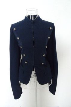 Vintage 1980s MENS womens UNISEX fitted Gothic Military Napoleon jacket Steampunk Russian Renaissance Victorian Blue coat M. $49.00, via Etsy.